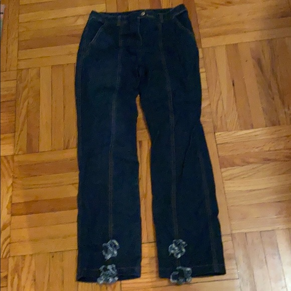 Escada jeans with flowers on bottom